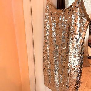 Alice and Olivia silver sequin mini dress size 6